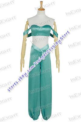 Aladdin And His Lamp Cosplay Princess Jasmine Costume Green Blue Dress Halloween - Jasmine And Aladdin Costumes