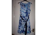 DEFINITIONS FLORAL PRINT FULL SKIRT DRESS BLUE PRINT