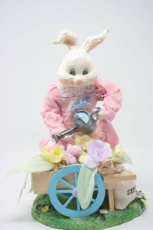 Vintage Bunny Working In Garden Wheelbarrow Vintage Easter Decorations