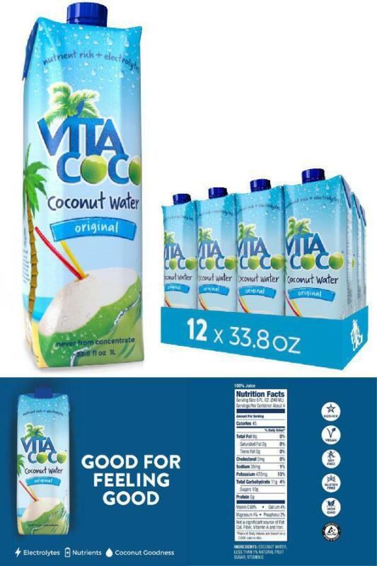 Coconut Water Beverage Vita Coco Coconut Pure Large 12 Pack 1 Liter Electrolyte