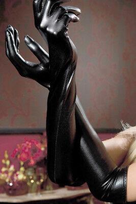 Schwarze Lange Handschuh (2 x sexy schwarze lange Damen Lack Handschuhe wet-look Gothic Wäschebeutel)