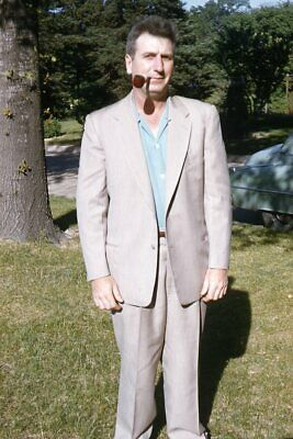 1950s Mens Suits & Sport Coats   50s Suits & Blazers 35mm Slide 1950s Red Border Kodachrome Man Standing in Yard in Suit with Pipe $23.99 AT vintagedancer.com