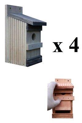 4 x Nistkästen für die Vögel, Nistkasten ,Super-Set 11-NP-4, Vogelhaus aus Holz