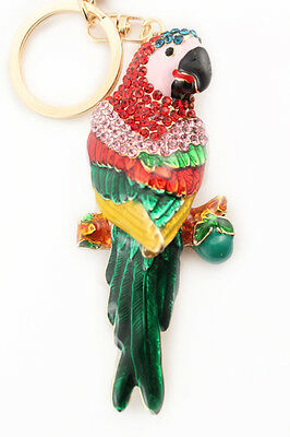 Parrot Multi-Color Keychain Rhinestone Crystal Cute Animal Bird Charm Gift 01134 - Bird Keychain