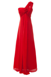 Flower-Shoulder-Bridesmaid-Wedding-Party-BallGown-Prom-Evening-Chiffon-Dress-Red