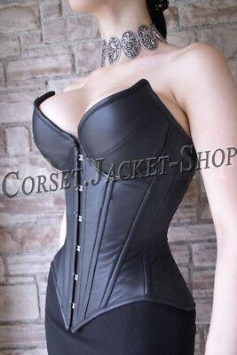 Leather Steel Boned Corset (Heavy Duty Steel Boned Over bust Waist Training Genuine Leather Corset B9-L )