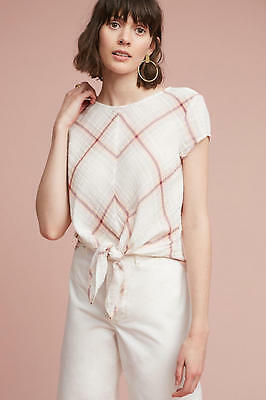 Anthropologie Plaid Tie Front Blouse Top Nwt  New Size M