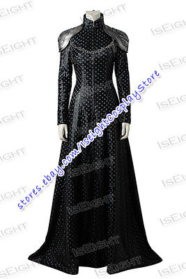 Game of Thrones Season 7 Cersei Lannister Cosplay Costume Black Dress Halloween (Cersei Lannister Halloween Costumes)
