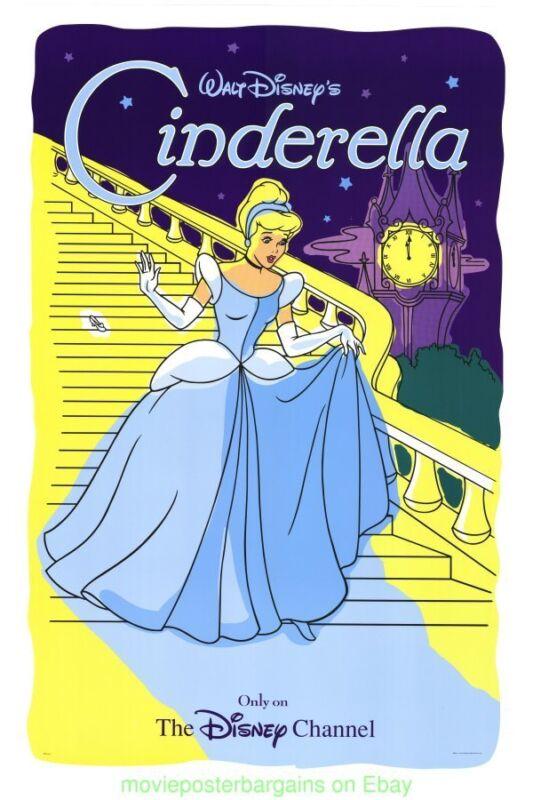 CINDERELLA MOVIE POSTER Original DISNEY CHANNEL STYLE 27x40 One Sheet 1990