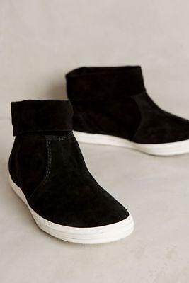 Anthropologie ALL BLACK Foldover Booties Boots Sneakers Black Suede 38 39 40 NIB