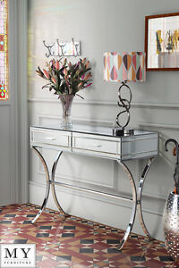 Barcelona Style Mirrored And Chrome Dressing ConsoleTable