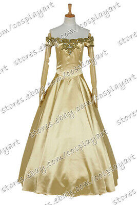 Once Upon A Time Season 3 Belle Cosplay Costume Formal Golden Dress Halloween