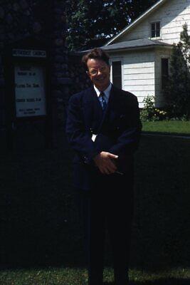 1950s Mens Suits & Sport Coats   50s Suits & Blazers Kodak Slide 1950s Red Border Kodachrome Man in Suit Outside Methodist Church $21.99 AT vintagedancer.com