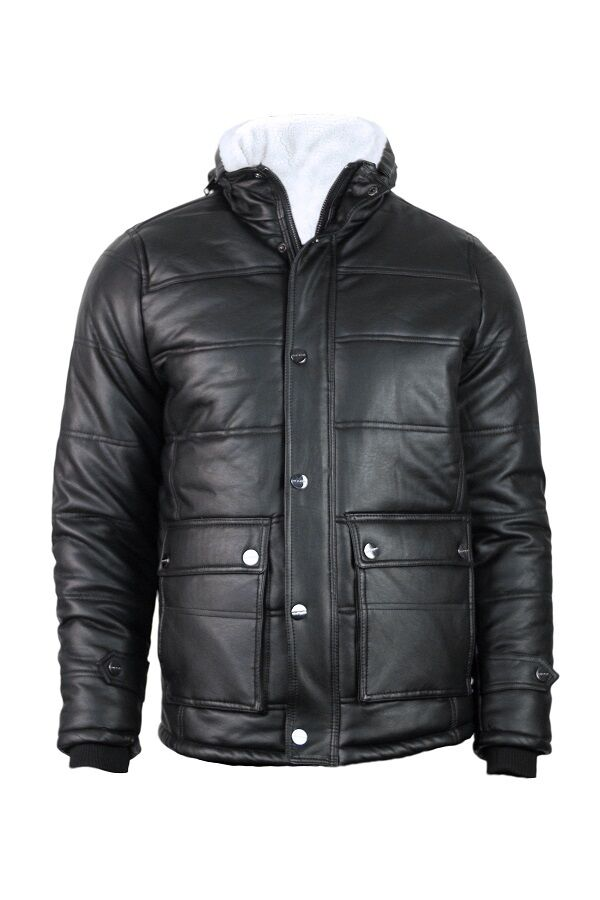 Men's Leather motorcycle Sherpa Lined jacket Bomber Jacket w