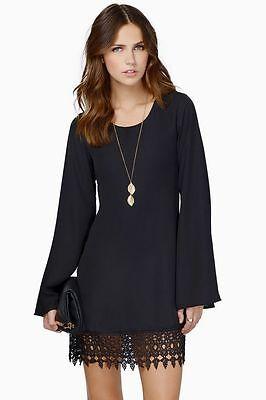 Women's Long Sleeve Chiffon A-line Lace Stitching Trim Mini Dress  ~ Sz L - NWOT
