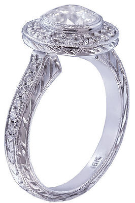 GIA G-SI1 18k White Gold Round Diamond Engagement Ring Bezel Set Art Deco 1.20ct 2