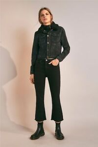 Urban Outfitters BDG Black Kick Flare High-Rise Cropped Jeans-Tag RRP £50 S-28w