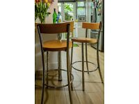 Lovely Chrome & Beech Kitchen/Bar Stools. Quick sale