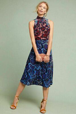 New Anthropologie Rumie Velvet Dress Moulinette Soeurs Printed Sleeveless SZ 8