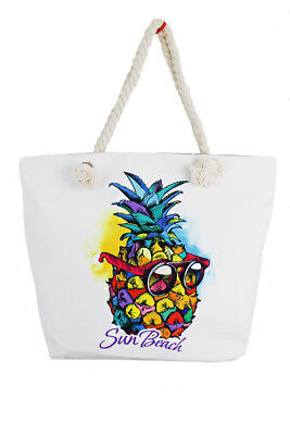 Designer Canvas Tote Bags (SUMMER BEACH CANVAS TOTE BAGS WITH VARIOUS PINEAPPLE PRINTED)