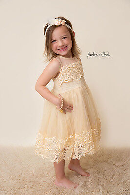 Champagne Cream Ivory Dress Lace Wedding Flower Girl Birthday Pageant Formal - Wedding Flower Girl Dress