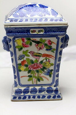 Chinese Porcelain  Hand Painted Covered Jar Tea Caddy Head Handles