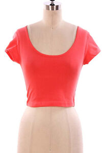 ... Scoop Neck Cropped Belly Top Short Sleeve Stretchy Fitted Tee Shirt