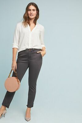 New w/ Tag $88 Anthropologie CHINO Striped Oxford GRAY Relaxed Pant Sz 32 NEW