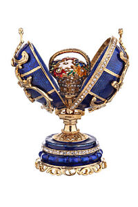 Decorative Faberge Egg with Basket of Flowers 8 cm blue