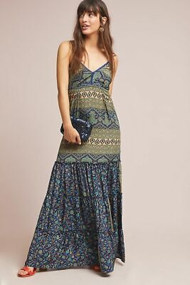 - NEW Anthropologie Raga Larissa Petite Maxi Dress Blue Motif Size Medium P NWT