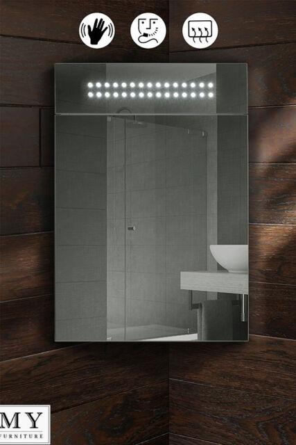 Panoramic Led Illuminated Bathroom Mirror Corner Cabinet