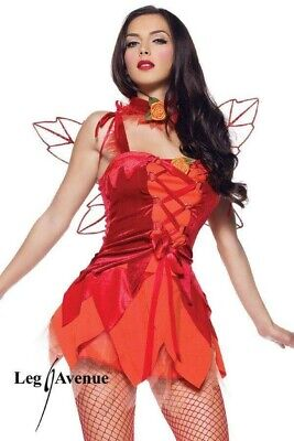 LEG AVENUE SEXY RED FIRE FAIRY DRESS & CHOKER BNIP NEVER WORN RRP £49 (NO WINGS)](Fire Fairy Costumes)