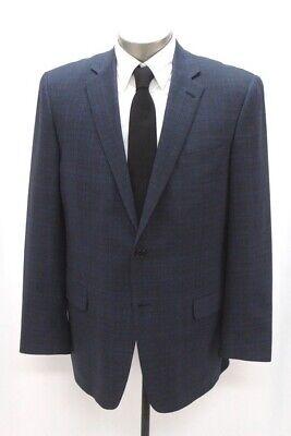 mens blue plaid HART SCHAFFNER MARX blazer jacket sport suit coat usa 46 L Blue Plaid Blazer