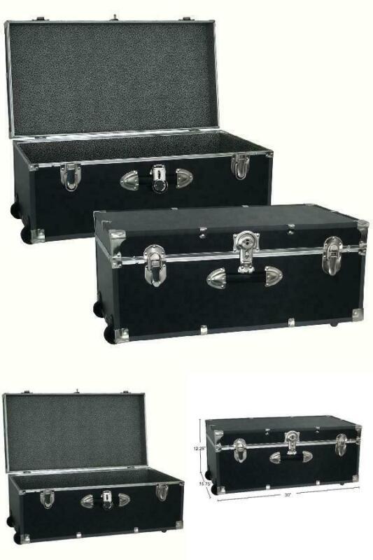 footlocker trunk storage 30 black metal heavy