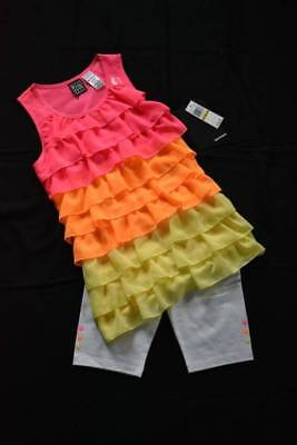 New POGO CLUB Girl's M 10 12 Summer Outfit Bright Ruffled Top, White Bike Shorts White Ruffled Top Outfit