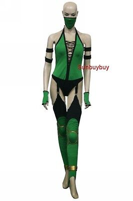 Mortal Kombat Jade Cosplay Costume  Game Green Jumpsuit Halloween