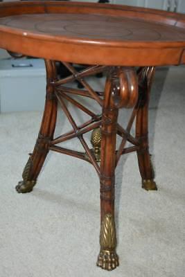 Maitland Smith Regency Leather Gold Leaf Rattan Base Center Table Rattan Furniture Center
