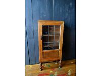 antique oak cabinet with lead glazed doors