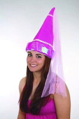Princess Hat Hot Pink With Veil Cone Fairy Tale Costume Accessory Plush Pointed](Princess Cone Hat)