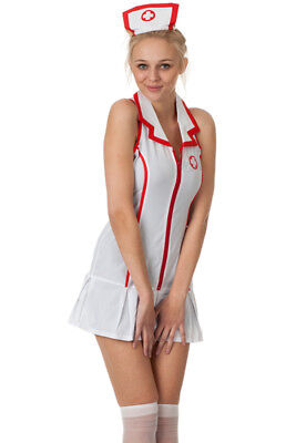 sexy Damen Krankenschwester Kostüm + Haube + Strümpfe Nurse - Sexy Krankenschwestern Kostüm