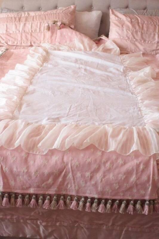 Baby Girls Designer Pink Ruffled Crib Skirt Tassels Double Layer Stars - B5