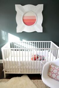 White convertible crib and change table