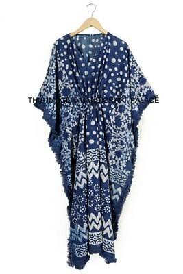 Anokhi Indigo Algodón Caftán Largo Bloque Estampado Indio Vestido Kimono Boho