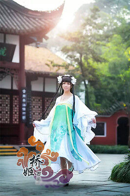Pear Flower Personific Cosplay Chinese Ancient Costume Green Whire Luxury Dress