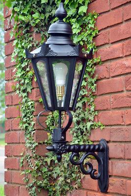 Ex Outdoor Lights - USED Ex-Display Large Black Hexagonal Garden Wall Light Set With Ornate Bracket