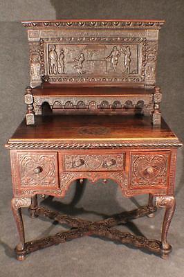 Original Renaissance Schreibtisch Zunft Schmiede Eiche Barock datiert 1630 #5025