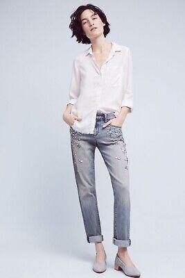 Anthropologie Pilcro Hyphen Bejeweled Mid-Rise Boyfriend Jeans Size 30