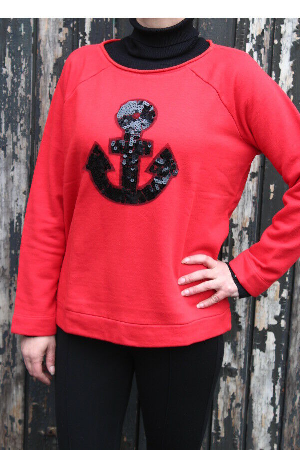 MARGITTES Damen Sweat Shirt Pullover langarm rot Ankermotiv NEU Gr 38 A65