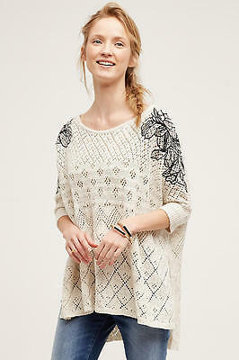 NEW ANTHROPOLOGIE $128 EMBROIDERED LAUNA PONCHO PULLOVER TUNIC SWEATER SZ M/L