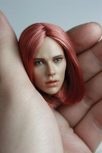 Custom Repaint 1/6 Scale Straight Hair Black Widow Head Sculpt For Hot Toys Body